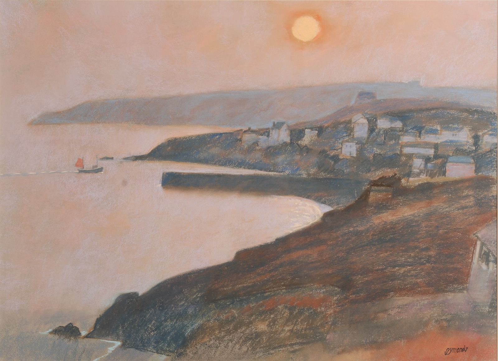 Lot 51 - KEN SYMMONS Cornish Harbour Pastel Signed 53 x 72 cm