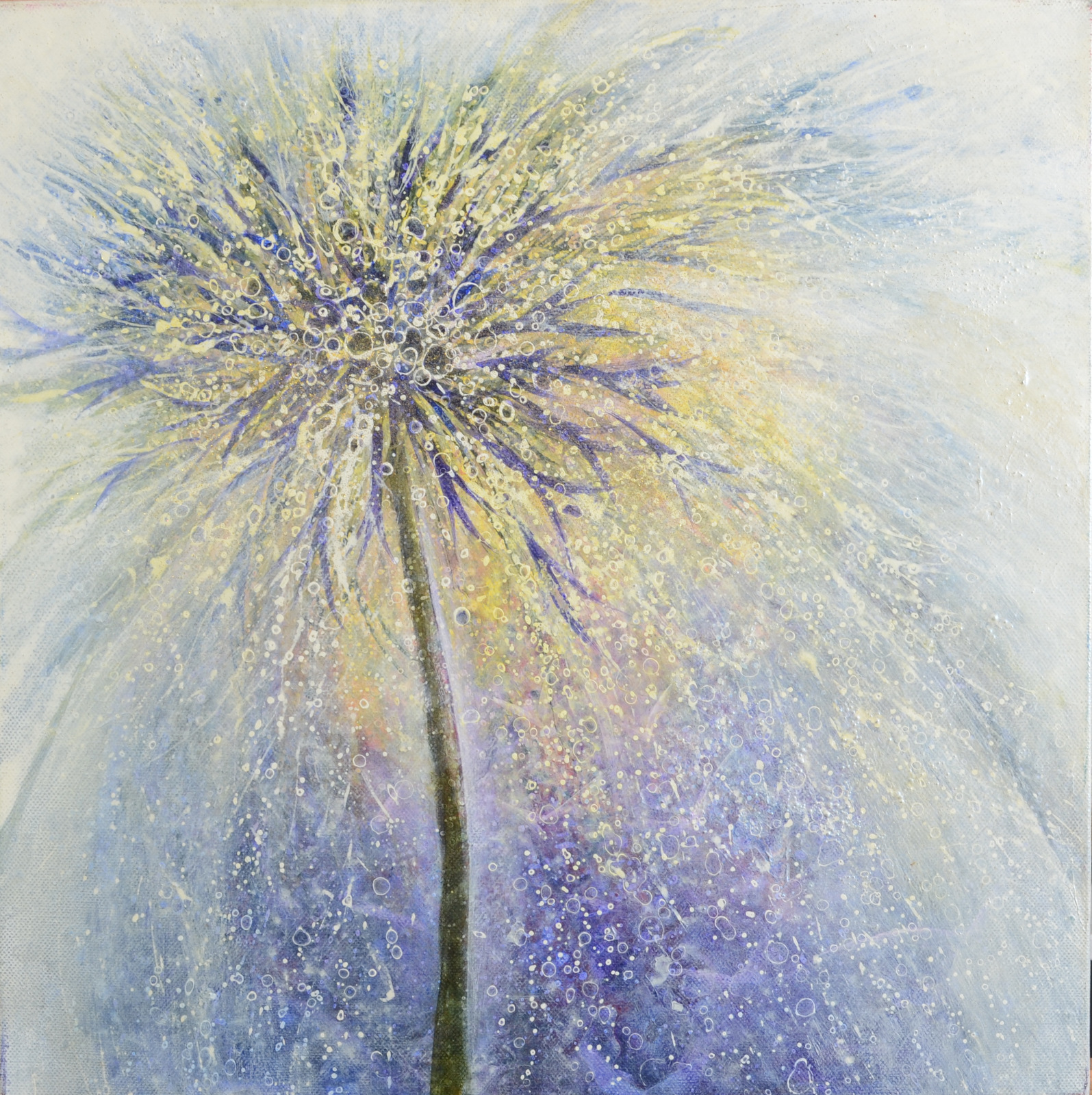 Lot 12 - IZUMI OMORI Beautiful Blossom Acrylic on canvas Artist mark and dated on the side 2008 41 x 41 cm