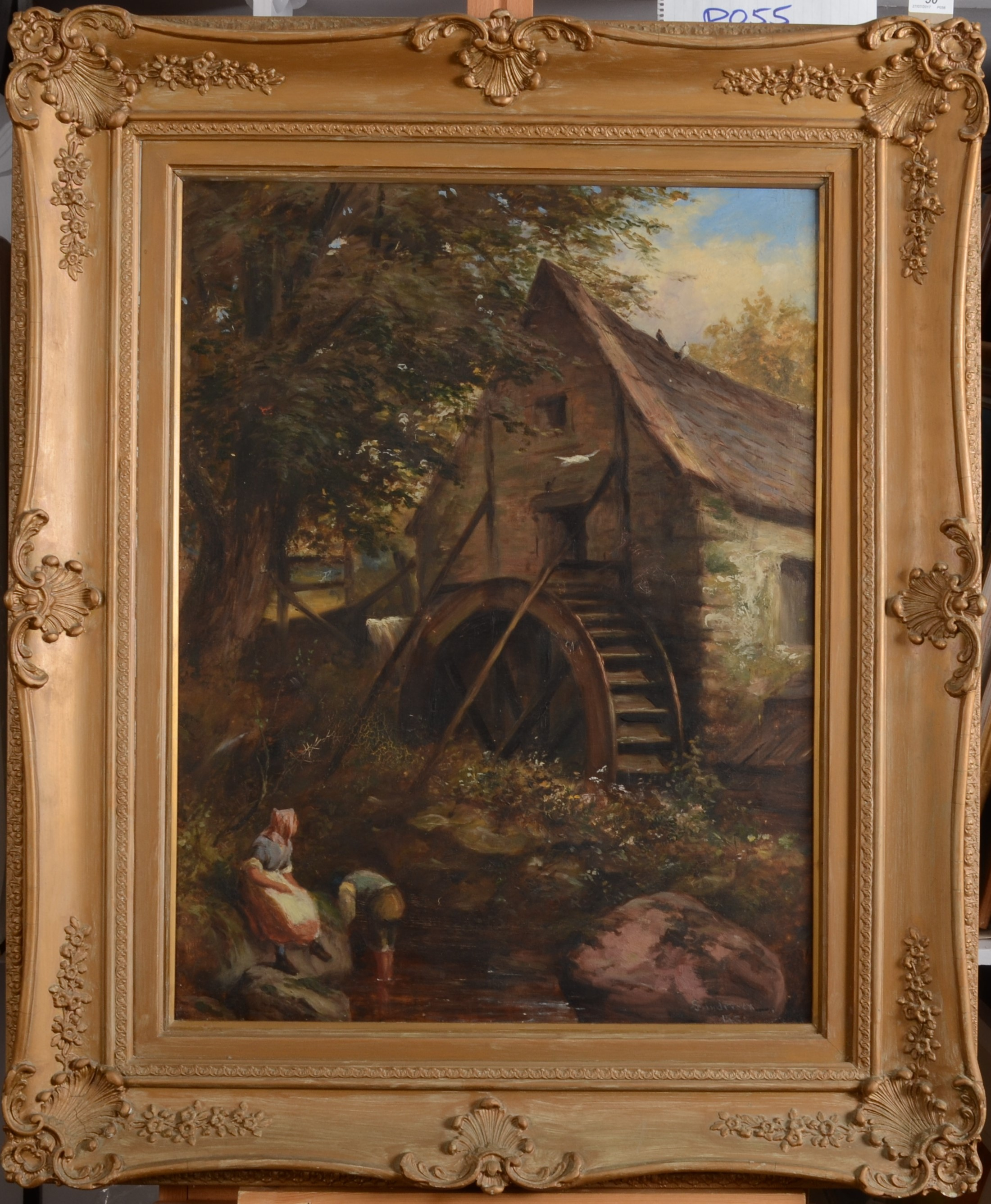 Lot 50 - ROBERT SANDERSON Figures By A Mill Oil on Canvas Signed Indistinctly dated (18??) 69 x 54 cm