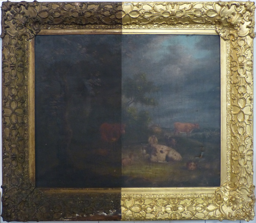 Lot 142 - A 19th century English school, cattle, unsigned, oil on canvas. 49 x 59cm gilt frame, half