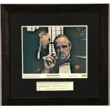 The Godfather (1972) Front of House card mounted with a signature of Marlon Brando, framed, 13 x