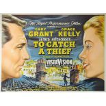 To Catch A Thief (1955) British quad film poster, starring Cary Grant & Grace Kelly, directed by