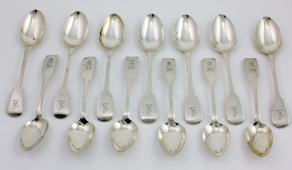 Lot 2 - A set of late George III Irish silver Dessert Spoons, Dublin c.