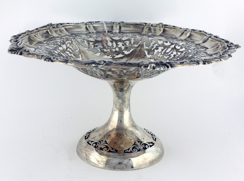 Lot 42 - A large attractive pierced English silver Tazza Table Centre, Birmingham c. 1904, approx.