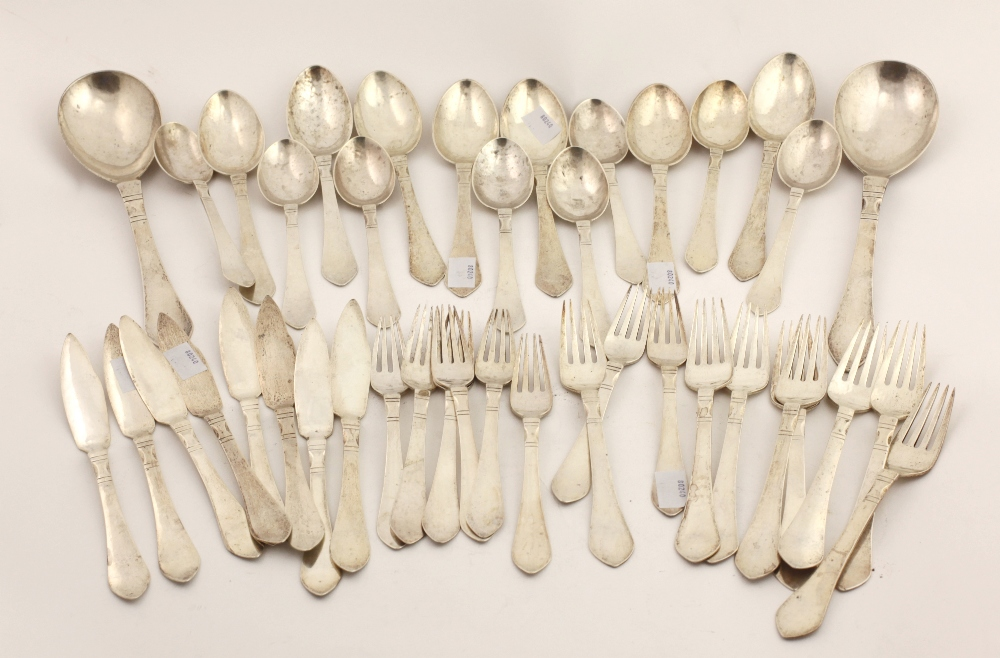 Lot 25 - A rare Art Nouveau Danish Flatware silver Table Service, by George Arthur Jensen,