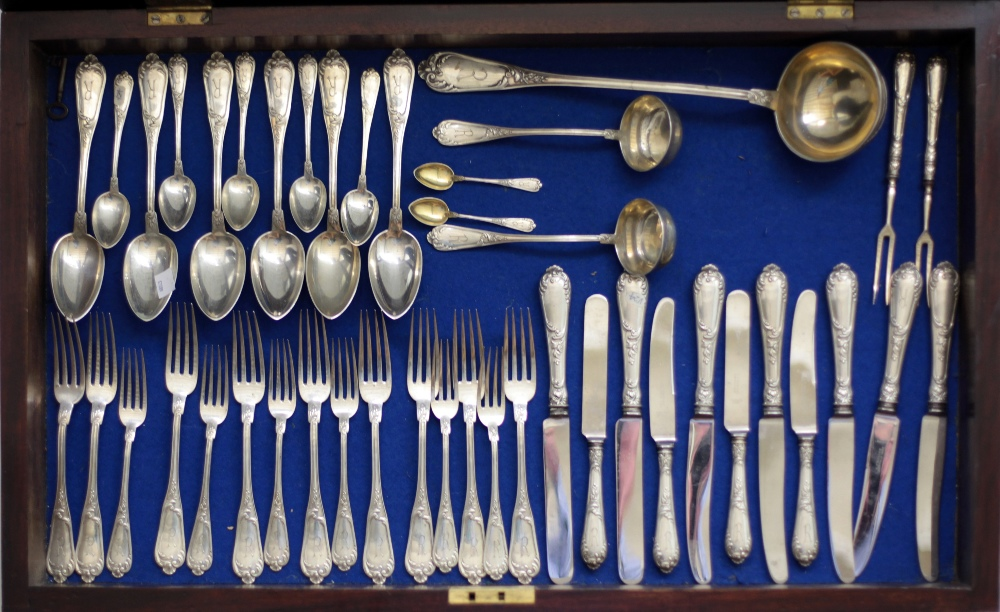 Lot 26 - An important large 20th Century German silver flatware Table Service, with the mark of Gebr.