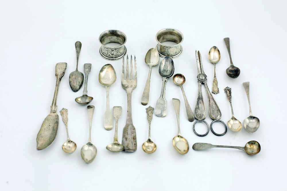 Lot 4 - Silver: Mixed Collection, including an Irish silver Butter Knife, large Irish silver Dinner Forks,