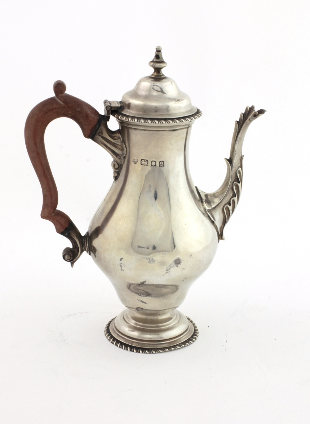 Lot 36 - A Georgian style silver baluster shaped Coffee Pot,