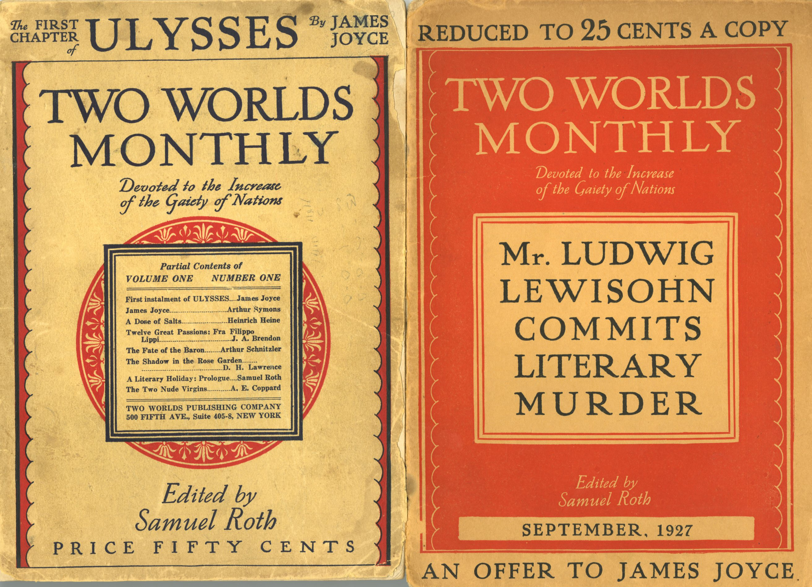 Lot 333 - Rare Unauthorized U.S. Edition of Ulysses Joyce (James) Ulysses - [Two World Monthly, Vol. 1 (No.