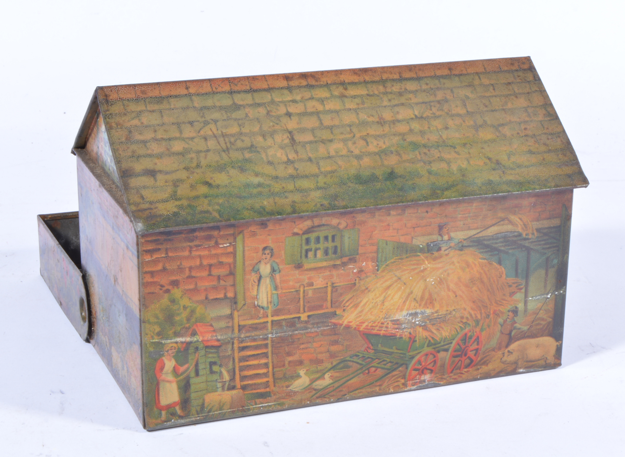 Huntley and Palmers biscuit tin, in the shape of a farmhouse with pull out hedge, - Image 2 of 2