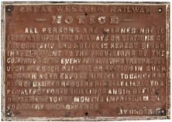GWR cast iron pre grouping TRESPASS sign. Measures 30in x 21in, in totally original condition.