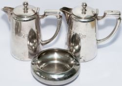 BR double arrow era silverplate coffee pots, a pair; both in good condition, side marked with the