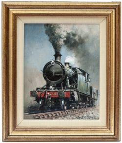 Original Oil Painting on canvas of GWR 7250 2-8-2T by Don Breckon 1981. Painting measures 10in x 8in