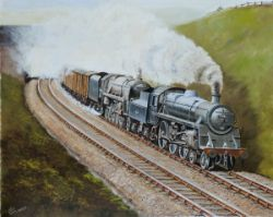 Original oil painting on canvas of BR STDS 75044 and 92100 double heading a fitted freight near