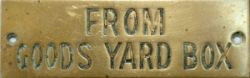 GWR brass hand engraved shelf plate FROM GOODS YARD BOX. Measures 4.75in x 1.5in, in good original