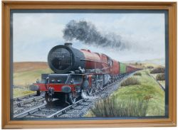 Original water colour painting of LMS 6206 PRINCESS MARIE LOUISE by G.S. Cooper. Painted on board