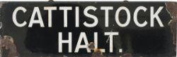 GWR lamp tablet CATTISTOCK HALT, white on black enamel with some enamel loss. Complete with original
