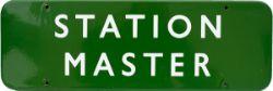BR(S) FF dark green enamel doorplate STATION MASTER. In excellent condition measuring 18in x 6in.