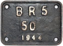 BR cast iron tenderplate BR5 50 1944 ex WD AUSTERITY 2-8-0 no 90049. Measures 7.5in x 5.5in and is