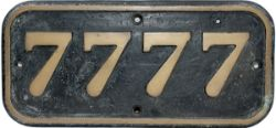 GWR brass cabside numberplate 7777 ex GWR Collett 0-6-0 PT built by Armstrong Whitworth in 1930.