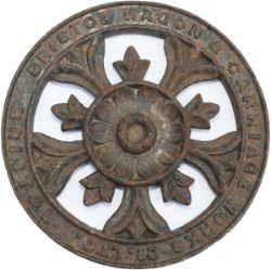Wagonplate circular cast iron BRISTOL WAGON & CARRIAGE WORKS CO LTD measuring 9.5in diameter.