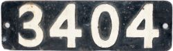 Smokebox numberplate 3404 ex BR(W) 0-6-0 PT, built in 1956 by The Yorkshire Engine Company.