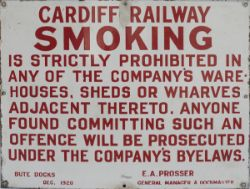 Cardiff Railway enamel sign re SMOKING IS PROHIBITED, signed E.A. Prosser General Manager and