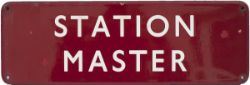 Enamel doorplate BR(M) FF STATION MASTER measures 18in x 6in. In good condition with a few small
