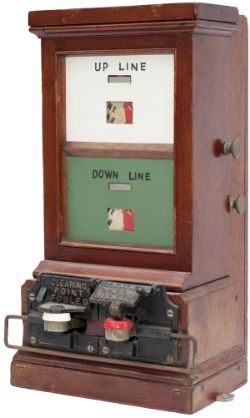 GWR double line Spagnoletti block instrument with rear relay box. In excellent ex box condition.