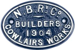 North British Railway Company cast iron coach builders plate N.B.R.Y Co. BUILDERS 1904 COWLAIRS