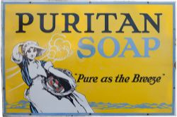 Enamel advertising pictorial sign PURITAN SOAP with some expertly carried out restoration to the R
