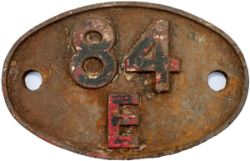 Shedplate 84E TYSELEY 1950-1963. In lightly cleaned condition with traces of red paint.