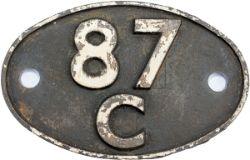 Shedplate 87C SWANSEA DANYGRAIG 1950-1964, in ex loco condition.