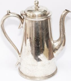 GWR silverplate 1 pint coffee pot, marked on the face with GWR in Roundel and Hotels, base marked