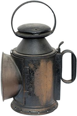 LNWR 3 aspect handlamp, stamped in the reducing cone L&NWR CARR WOLVERTON. Location stamped on the