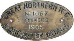 Great Northern Railway engraved brass Locomotive worksplate No 1067 Doncaster 1905 Ex Ivatt C1 class