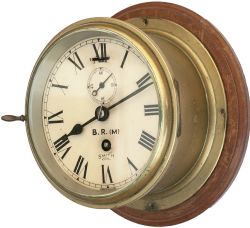 BR(M) brass cased ships clock ex MV HIBERNIA. Smiths Astral going barrel movement with dial lettered
