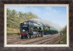 Original framed oil painting by the renowned artist Barry Price of SR Merchant Navy class 35030