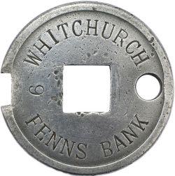 Tyers No6 single line aluminium tablet WHITCHURCH 9 FENNS BANK, configuration B, in ex railway
