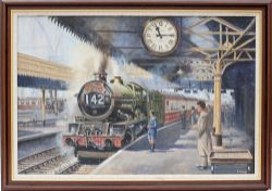 Original oil painting on canvas of a GWR Castle at Paddington about to depart on 11:15am MERCHANT