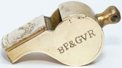 Bury Port and Gwendraeth Railway brass guards whistle, stamped in the side BP&GVR 12 and stamped
