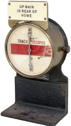 GWR brass cased circular track circuit banner repeater complete with ivorine plate UP MAIN IN REAR