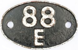 Shedplate 88E ABERCYNON 1950-1964. Lightly restored with clear casting marks on edge of rear.