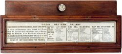 GWR mahogany framed and glazed carriage panel advertising LUNCHEON AND TEA BASKETS in gold print