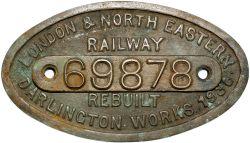 LNER cast brass 9x5 works numberplate 69878 Rebuilt Darlington 1936 Ex Raven H1 4-4-4T rebuilt as A8