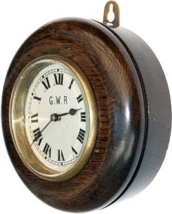 GWR oak cased Pork Pie type wall clock with French going barrel movement stamped MADE IN FRANCE. The
