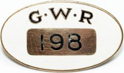 GWR enamel Cap Badge number 198, by J.A. Wylie & Co London. White enamel ground has the initials