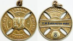 London Midland and Scottish Railway Gold free pass issued to V.M. BARRINGTON WARD. Lt Col V.M.