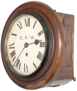 GWR mahogany cased 8inch chain driven fusee clock. The movement has rectangular plates with