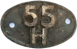 Shedplate 55H LEEDS NEVILLE HILL 1960-1973. In ex loco condition with traces of blue paint.